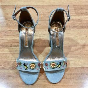 Denim Bumble Bee Heels Sandals 7